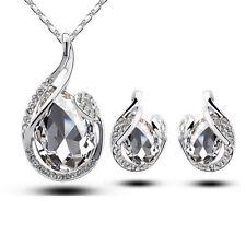 Simple Teardrop Rhinestone Crystal Earring Pendant Chain Necklace Jewelry Set