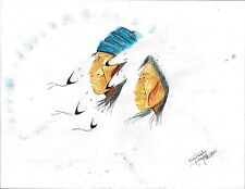 PINE RIDGE SD VINTAGE SIOUX INDIAN ART 9 X 11 inch signed WM DOUGLAS BRYANT '95
