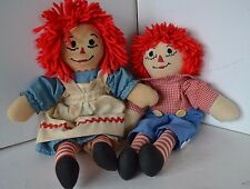 Raggedy Ann & Andy Stuffed Doll Lot of 2  LOT8 Handmade