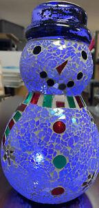 AVON HOLLY JOLLY GLASS SNOWMAN LIGHT UP COLLECTIBLE MOSAIC Mint