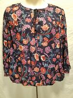 Lucky Brand Plus Size 2X Navy Floral Print 3/4 Sleeve Peasant Boho Blouse Top