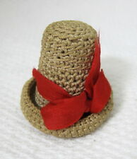 "Handmade Vintage Crochet Hat Sewing Pincushion 1 1/2"" T84"