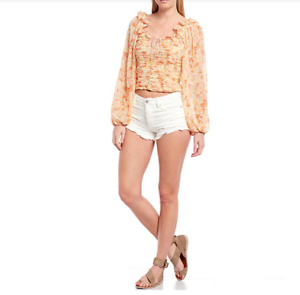 FREE PEOPLE Good Vibrations 27 Short Shorts White Distressed Button Fly