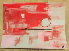 Abstact Painting Acrylic Paint Original Art Artist Red Gray Pink Circle 11x15