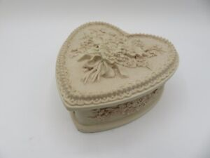 Vintage Incolay Stone Handcrafted Pink Flowered Hinged Trinket Jewelry Box