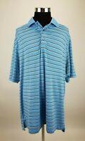 Footjoy Polo Golf Shirt Mens XL Blue Striped Short Sleeve EUC A45-08