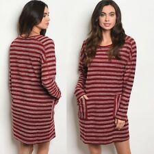 NWT Large Women's Red Stripe Long Sleeve Tunic Dress Boutique