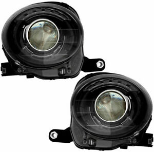 FIAT 500 2012-2016 BLACK HEADLIGHTS HEAD LIGHTS LAMPS FRONT W/BULBS PAIR SET