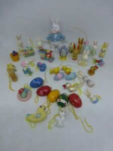 Lot of 36 Vintage Miniature Easter Spring Ornaments Wood Rabbits Chicks Crafts