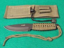 Lot de 3 Couteau de Survie + Allume Feu Acier Carbone/Inox Manche Paracord M4007