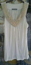 Olivia Moon Off White Pearl beaded Tank Top Dressy Shirt $145 M P Med