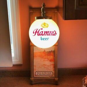 HAMM'S BEER LIGHTED BEER SIGN GLOBE SCONCE w/ LAKE & CANOE SCENE ~ NICE SHAPE!
