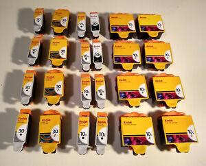 24 Used Empty Printer Ink Cartridges Kodak 10s & 30s Color & Black for Refill