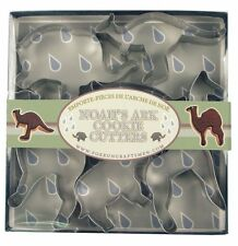 """Fox Run Cookie Cutter Set Boxed Noah's Ark Animal Shapes Tin Plated Steel 2-3"""""""