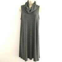 Mossimo women's medium dress shift sleeveless cowl neck striped ribbed jersey