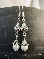 Pretty White Glass Pearl, Crystal & Tibetan Silver Drop Dangle Pierced Earrings