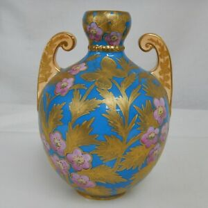 Royal Crown Derby 1870s Turquoise Blue, Pink and Gold Vase - 82106