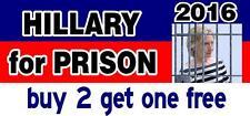 Hillary for Prison 2016 Bumper Sticker - Anti Hillary - Political - GoGoStickers