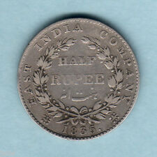 India. 1835 William IIII - Half Rupee..  F Incuse..  F+/F