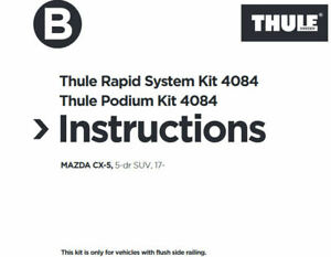 New Thule Roof Bars Fitting Kit 4084, MAZDA CX5 SUV, 2017 on