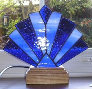 Stained Glass Tiffany Art Deco Style Fan Lamp / Night Light, Handmade in England