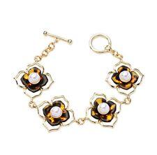 New Floral Tortoise Shell Glass Pearl Bracelet Chain Link Bangle Fashion Usa