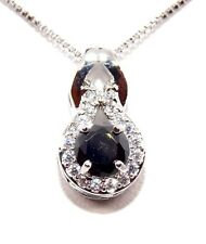 Silver Black Sapphire And Diamond 1.25ct Necklace