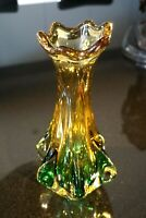 Beautiful Vintage Heavy Murano Glass Green And Gold Vase