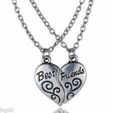 NEW BEST FRIEND Heart Silver Tone  2 Pendants Necklace BFF Friendship