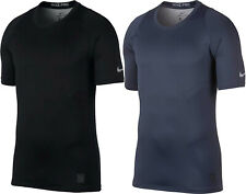 Nike Pro Mens Dri-Fit Colorburst Short Sleeve Training Top Grey/Blue New AH7989
