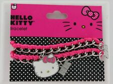 New Hello Kitty Bracelet - Pink with Silvertone Chain - Hanging Charms