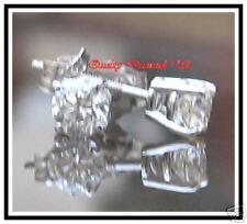 H VS .50CT REAL DIAMOND STUD EARRINGS WHITE GOLD NEW !!
