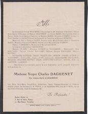*1925 Faire-part décès Mme Charles DAGUENET née Aimée-Marie CAMBERNON Granville