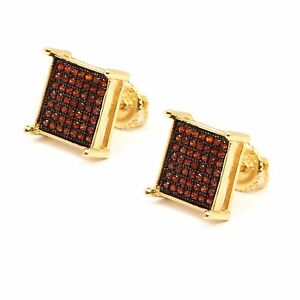 Mens 14K Gold Plated Red CZ Micro Pave Hip Hop Table Stud Earrings
