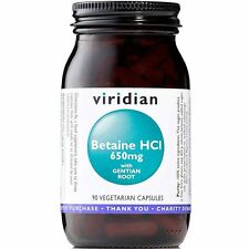 Viridian Betaine HCl 650mg with Gentian 90 Veg Capsules