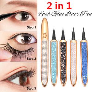 No Glue Magnetic Needed 2 in 1 Lash Glue Liner Pen Self-adhesive Magic Eyeliner-
