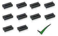 10pz zoccoli 16 pin per circuiti integrati 8+8 pin DIL passo 2,54mm