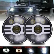 DOT Black 7 inch Round LED Headlight DRL Fit Dodge W100 W150 W200 W250 Pickup