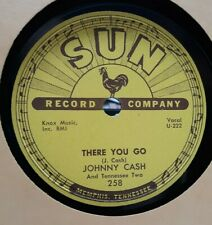 ROCKABILLY, SUN-258, 78 RPM, NEAR MINT, JOHNNY CASH, TRAIN OF LOVE / THERE YOU G