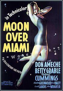 Moon Over Miami 1941 Film Vintage Poster Print Comedy Music Romance Florida