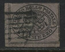 Italian States Roman States 1852 1 b black on dull violet used (JD)