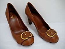 GUCCI brown leather gold logo buckle detail heels pumps shoes Italian size 37.5