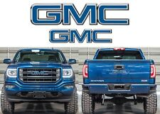 Stone Blue Metallic Front & Rear Emblem Vinyl Overlays CUT TO FIT For GMC Trucks
