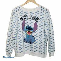 Disney Stitch Pullover Fleece Sweatshirt Sz XL Raglan Crew Neck White/Blue