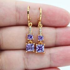 18K Yellow Gold Filled Women Princess Amethyst Zircon Topaz Gems Earrings Party