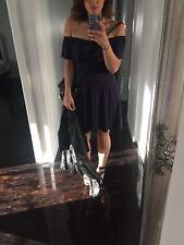 Sportsgirl Off Shoulder Bardot Style Navy Mid Length Dress Sz XXS New RRP $99