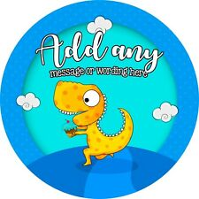 Cute Party Yellow Dinosaur Sticker Labels for Party Bag Sweet Cones