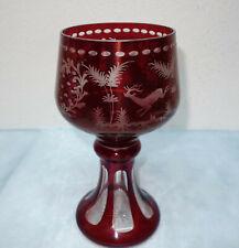 Kristall Römer - außergewöhnlicher Pokalglas, rubin überfangen - 25,5 cm hoch
