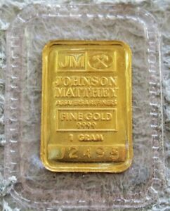 JOHNSON MATTHEY ASSAYER GOLD 1 GRAM .9999 FINE SEALED BAR