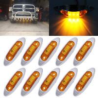 10x Chrome 3LED Side Marker Amber Indicators Car Truck Trailer Lorry Lamp 12-24V